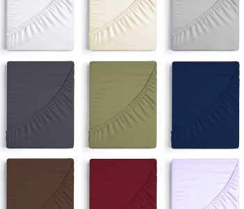the 9 colour options for fitted sheets